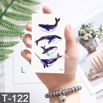 Waterproof Temporary Tattoos ocean feather Wave Mountain flash glitte Tattoo stickers body art for men translated tattoo sleeve 4