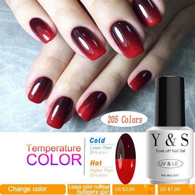 8ml brillo térmico cambio de Color UV Gel esmalte de uñas 205 Color remojo de manicura puntas Led UV Gel laca arte de uñas Y & S barniz de Gel
