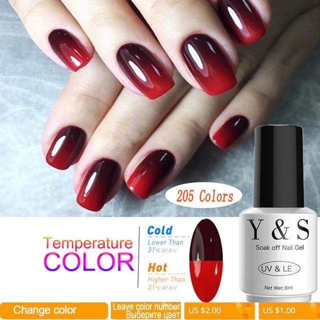 Arte de uñas de humor cambiando Gel de Color de esmalte de uñas botella de 8 ml de 205 colores remojo Led Gel UV barniz Y S Gel laca manicura Gel barniz