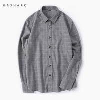 U SHARK Spring Autumn Male Casual Shirt Men Brand Clothing High Quality 100 Cotton Flannel Plaid