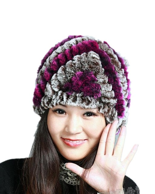 H763-Thicken  natural rex rabbit   knitted ear protector heart stripe black gray white red winter fur hats for women