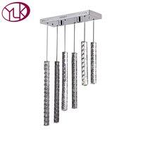 Youlaike Modern LED Chandelier For Living Room Flush Mount Hang 6 Lights Crystal Light Fixture Rectangle