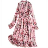 women flower print ruffle dress with belt vintage bow collar long sleeve pleated lady boho mid dresses vestidos
