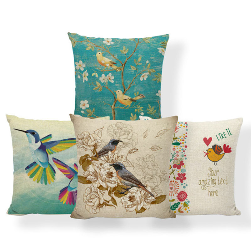 Hummingbird Animal Cushion Flowers Butterfly Pillow Case Chinese Traditional Cute Room Decor Home Pillow With Cover 17X17 Linen
