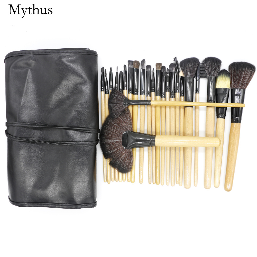 Mythus 24PC Professional Makeup Tool Cosmetic Brush Kit Foundation Eyeliner Contour Brushes Set With PU Bag Soft Wool Fiber Hair 2017 cosmetic pink makeup brush professional makeup kit brush set foundation brush power puff sponge makeup brushes set tool