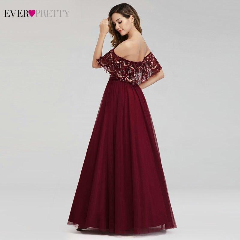 Robes de bal de luxe femmes bordeaux robes de soirée a-ligne hors de l'épaule volants gland Sexy paillettes robes formelles Gala Jurken - 3