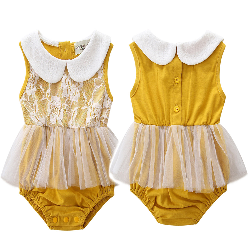 2017 Baby girls cotton and lace bodysuits cute infant clothes summer kids yellow flower vest jumpers age for 0-24M 17A801