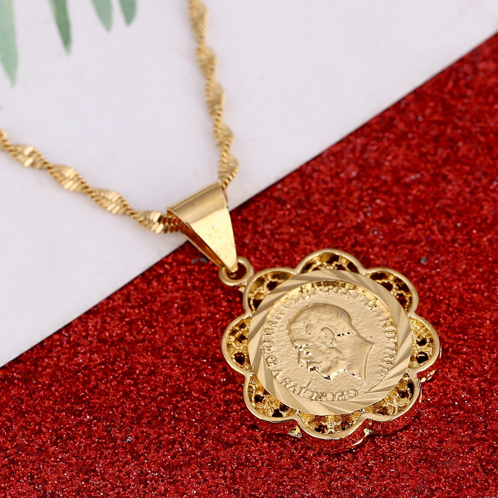 Women Arab Brass Coin Pendant Chain Middle Eastern Gold Color Africa Israel Iran Ethiopian Jewelry