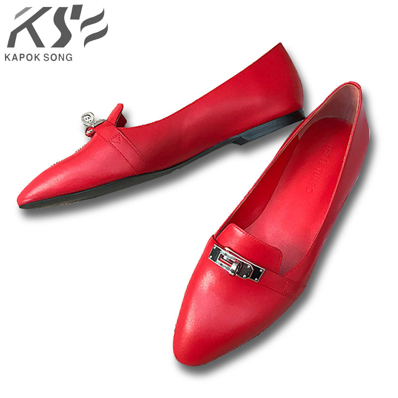 kelly flats women sharp top shoes summer fashional H genuine really leather shoes luxury designer comfortable