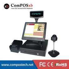 15 Inch POS All In One Windows System With Touch Screen And Thermal Printer Cash Drawer And VFD
