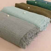 Muslim Head Hijab Good Quality Scarf solid color ladies cotton Crinkle Plain Wri