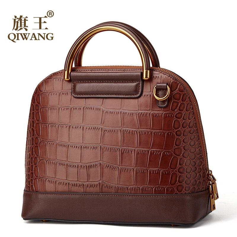 QIWANG 100 Genuine Leather Handbag High Quality Crocodile Cow Leather Handbags Fashion Office Lady Retro Women