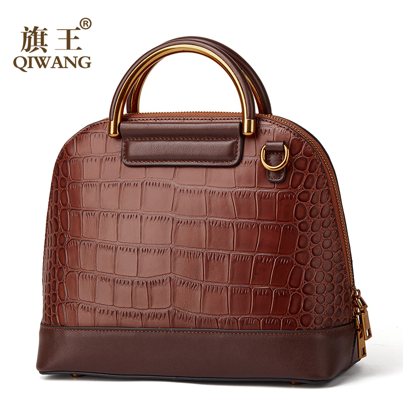 QIWANG 100% Genuine Leather Handbag High Quality Crocodile Cow Leather Handbags Fashion Office Lady Retro Women Hand Bag Shell-in Top-Handle Bags from Luggage & Bags    1