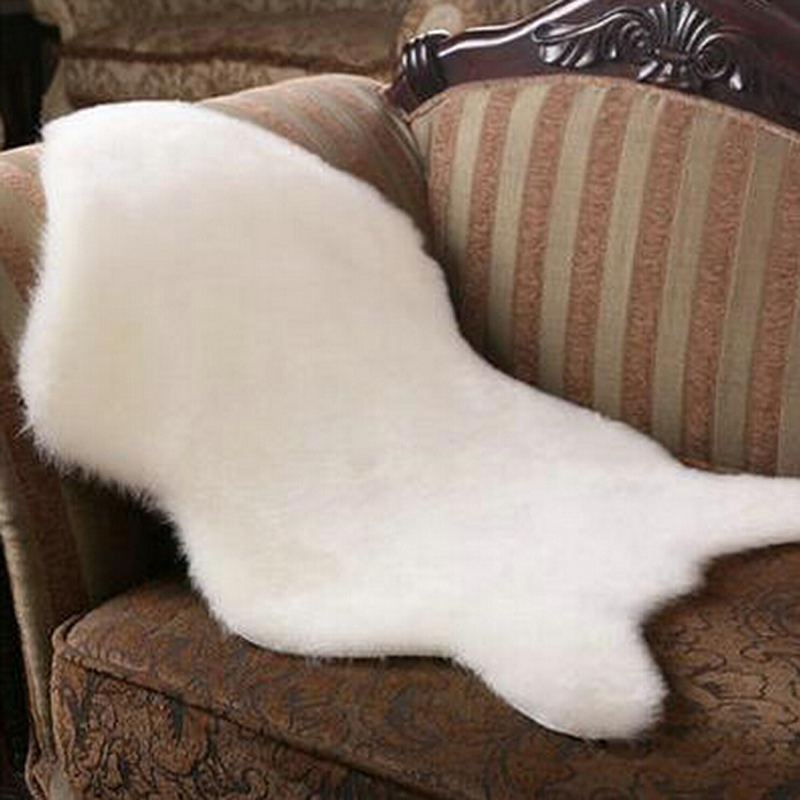 Soft Hairy Artificial Carpet Sheepskin Chair Cover Seat Pad Plain - Home Textile - Photo 6