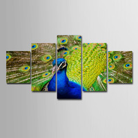 Peacock Pictures Animal Bird Spray Painting Canvas Painting 5 Pieces For Living Room Office Spray Paintings