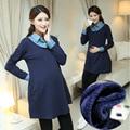 Azul marinho Vestido de Maternidade Vestidos para Mulheres Grávidas Outono Inverno turn down collor de lã quente Roupa de Maternidade Gravidez