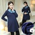 Navy blue Maternity Dress Autumn Winter turn down collor Dresses for Pregnant Women warm fleece Maternity Clothing Pregnancy
