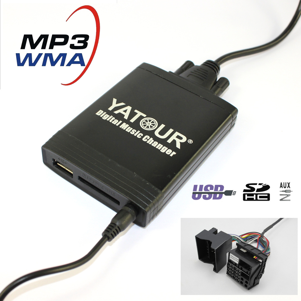 Yatour YT-M06 Car digital music changer For Renault VDO / Blaupunkt quadlock 12pin fakra 2009+ YT-M06 Car USB MP3 SD AUX adapter yatour digital music music changer for renault clio tuner list tuner update list vdo dayton 8 pin usb sd aux bluetooth adapter