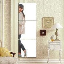 Pegatinas autoadhesivas de espejo, pegatinas cuadradas de 3 uds, papel de pared de cristal DIY, adhesivo 3D para pared, decoración para sala de estar y baño