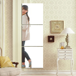 Specchio autoadesivo Adesivi 3 pz Adesivo Specchio Quadrato di Cristallo Della Parete di Carta FAI DA TE 3D Decalcomania Della Parete Soggiorno Bagno decorazione