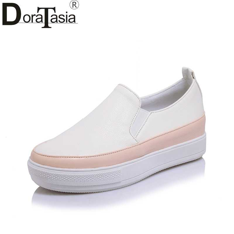 DoraTasia 2019 Spring Autumn Fresh White Shallow Flat Platform Loafers Shoes  Woman Slip-On Plus a3eacc091366