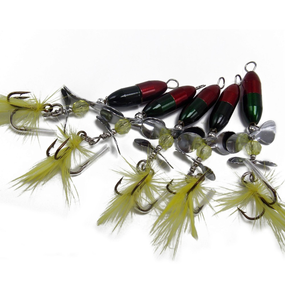 CATCHSIF 5pcs Double Color Spinner baits with 2 Churning Prop Blades sinking hard fishing lures in Fishing Lures from Sports Entertainment