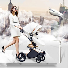 AULON High Landscape Baby Stroller 2 In 1 Hot Mom Stroller Luxury Stroller Four Wheels Baby Trolley 3 Free Gifts