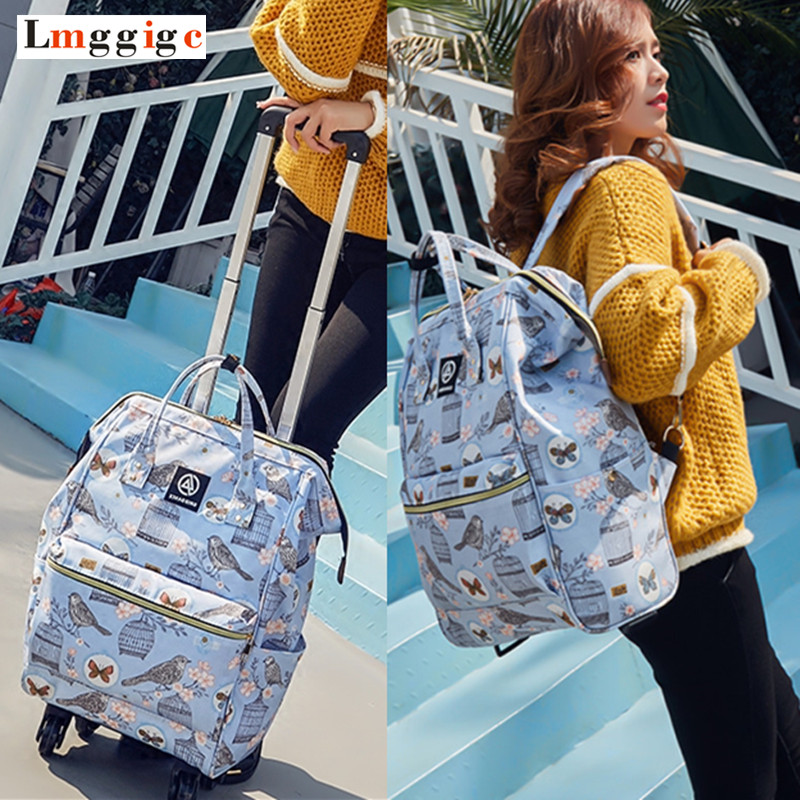 Women Rolling Luggage Bag,Canvas Travel backpack,Suitcase with Wheel,multifunctional Trolley Case,44*31*15cm Carry-Ons Dragboxes