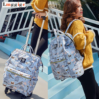Women Rolling Luggage Bag,Canvas Travel backpack,Suitcase with Wheel,multifunctional Trolley Case,44*31*15cm Carry Ons Dragboxes