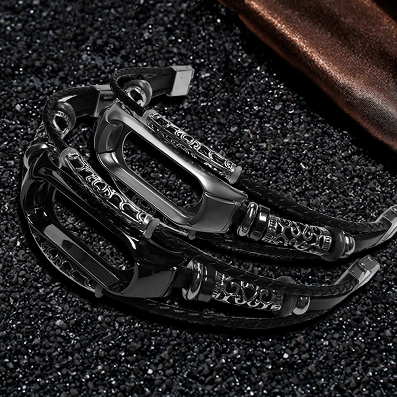 AKGLEADER For Xiaomi Mi Band 3 Retro Watch Band Genuine Leather With Jewelry Wrist Strap For Xiaomi Mi2 Bracelet horloges bandje