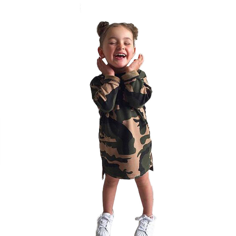 mini camouflag baby girls dress fashionable long sleeve cool girl dress for toddler girls causal conjunto menina 4OT1 (4)