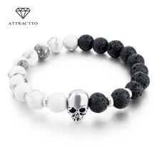 Attrattto Новый Череп из природного камня браслеты для женщин