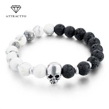 Nuevas pulseras de calavera de piedra Natural para mujer cuentas de Lava elásticas para hombres accesorios de joyería pulseras SBR160031