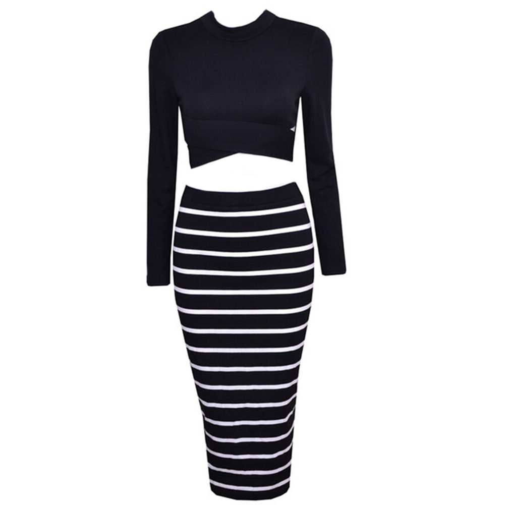High-necked long-sleeved Bandage Lo shi shirt plus striped dress Two-piece black