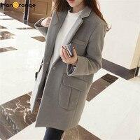 2018 Women Long Woolen Coat Female Winter New Loose Overcoat Gray/Black/Wine Red S/M/L/XL/XXL