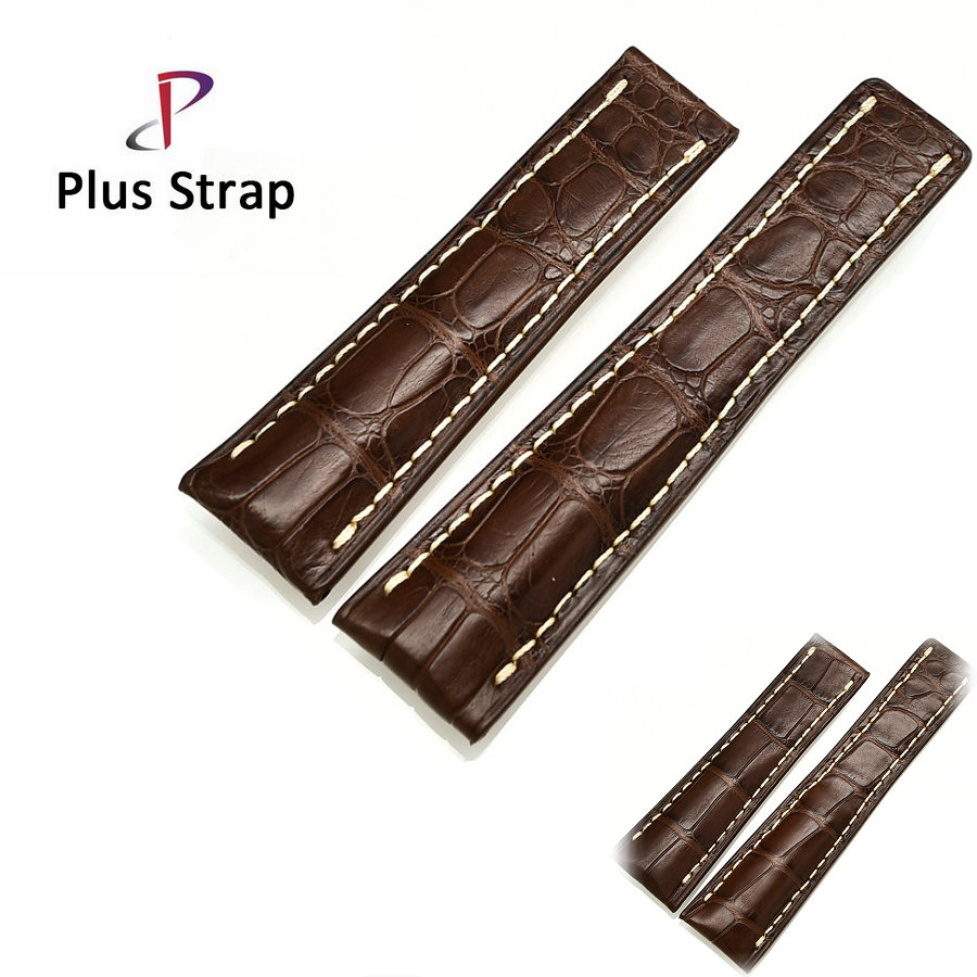 Plus Strp 18 20 22mm Brown Watch Band Watches Strap Replacement Alligator Skin Genuine Leather Men&Women Wristband no Buckle plus strap 20 21 22mm men real crocodile skin watch band for watch strap replacement wristband women belt no buckle high quality