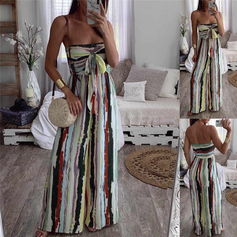 Yaz Moda Kadın Çizgili Tulum Kolsuz Straplez Lady Romper Boho Büyük Yay Geniş Bacak Pantolon Tulum Gevşek Kadın Tulum