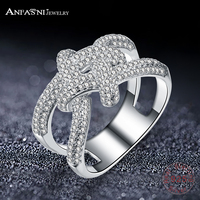 ANFASNI Top Quality Fashion Brand Real Solid 925 Sterling Silver Ring Wedding Rimantic Knot Rings Engagement