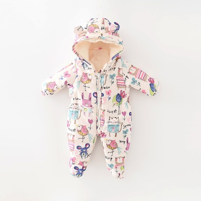 Retail 2016 new In the winter  next  Baby girl child graffiti quilted thickening modelling ha/jumpsuit
