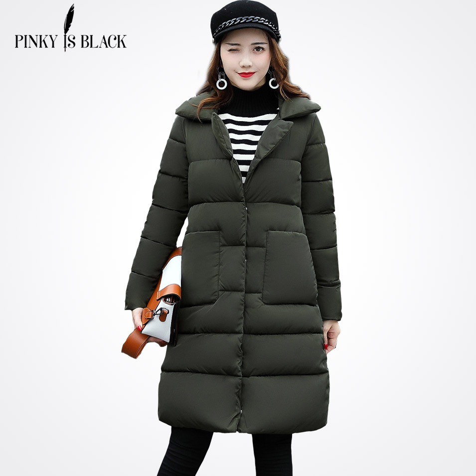 Pinky Is Black Winter Jacket Women 2017 New Fashion Solid Color Stand Collar Women Coat Jacket Pockets White Winter Coat Female