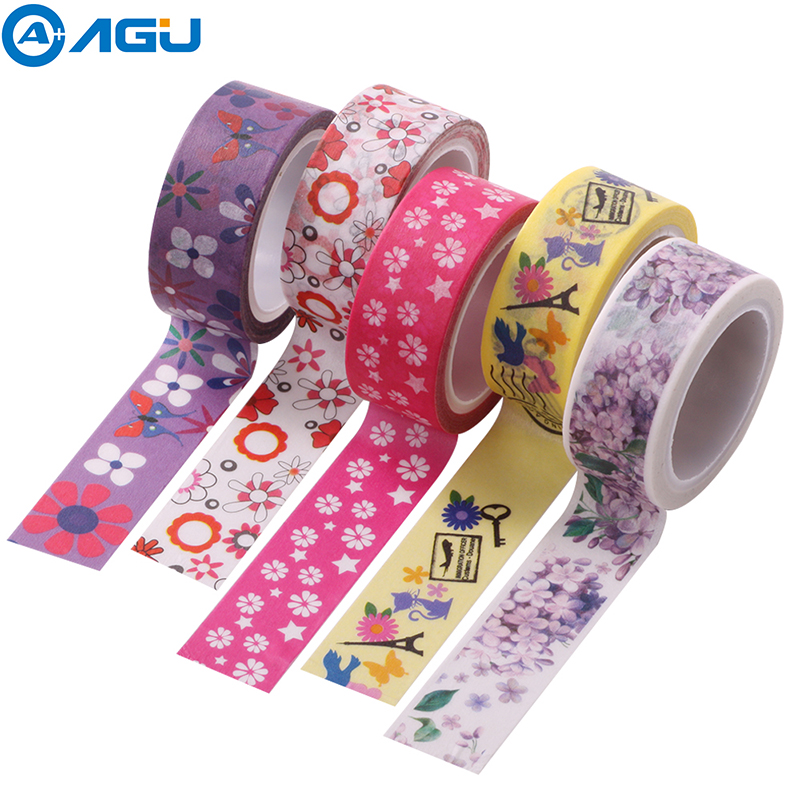 AAGU 1PC 15mm*5m Fresh Floral Adhesive Washi Tape Decorative Notebook Masking Easy To Tear No Residue DIY Making Paper Tape aagu new arrival 1pc 15mm 10m musical note fresh floral washi tape strawberry sticky adhesive tape various patterns masking tape
