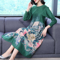 Kind Of Print Floral Long Sleeve High Waist Round Neck Dress Autumn New Luxury Design Casual Women Slim Clothes