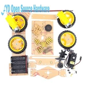 Image 3 - 1 مجموعة محرك التوجيه 4 عجلة 2 موتور الذكية سيارة روبوت الهيكل أطقم لتقوم بها بنفسك مع 3003