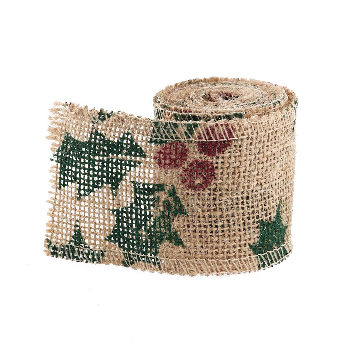 2 m 6 cm estilo de la hoja arpillera cinta del arte de diy artesanía natural yut