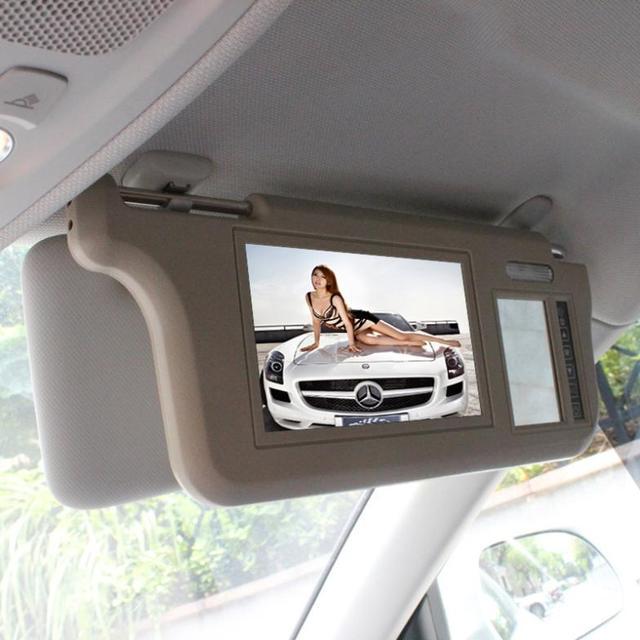 $ Number pulgadas TFT LCD de Coches parasol Monitores de pantalla de dos vías de entrada de vídeo de marcha atrás interruptor prioridad