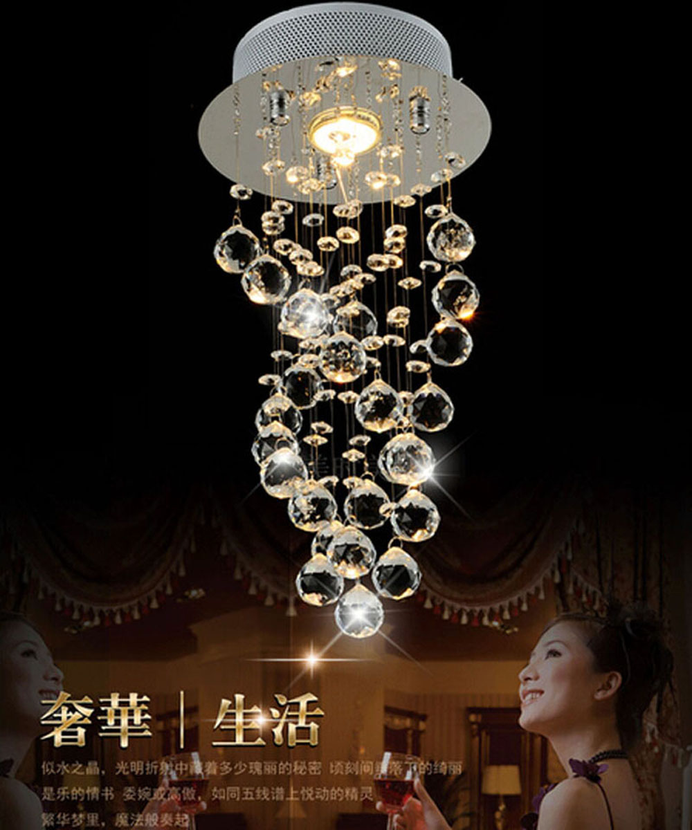 Modern Luxury LED Crystal Chandelier D20 x H40cm 3W GU10 LED Bulb Bedroom pendant lamp Corridor light for Hallway Entrance Bar