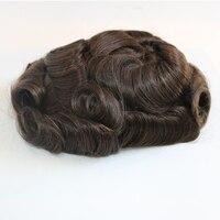 Eversilky супер прочный тонкий кожаный мужской парик, система человеческих волос силиконовая основа мужской парик волос протез