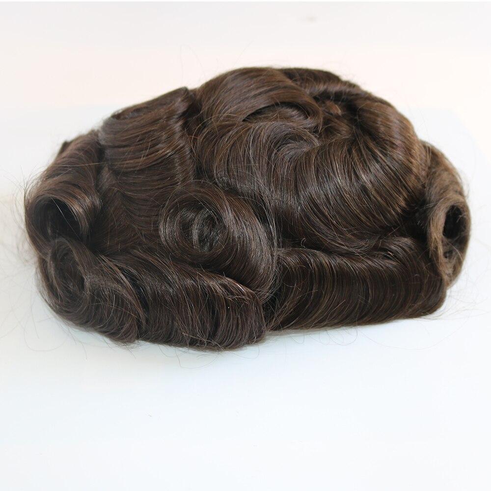 Eversilky Super Durable Thin Skin Men Toupee, Human Hair System Silicone Base Men Hair Wig Hair Prosthesis