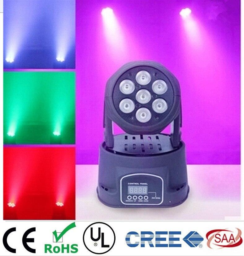 ФОТО 2pcs/Lot led mini wash moving head light 7x12w RGBW quad DMX 9/14channels