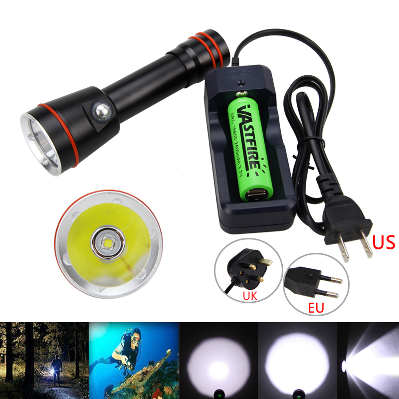 Real 2000lm XM-L2 LED Diving Flashlight Video photography Waterproof Flash Light Torch Lamp With Charger+18650 Battery cree xm l t6 bicycle light 6000lumens bike light 7modes torch zoomable led flashlight 18650 battery charger bicycle clip